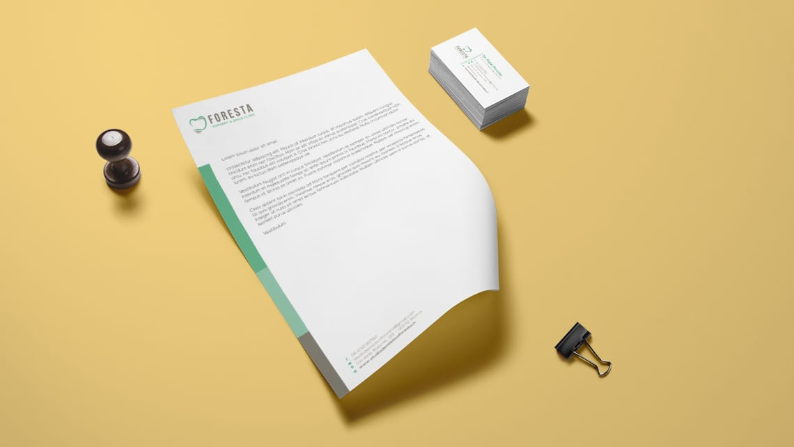 carta-da-lettera-biglietto-da-visita-logo-clinica-dentale-foresta